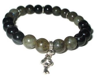 Black agate bead gemstone bracelet for her beaded stretch bracelet for woman birthday gift for mother of bride power protective bracelet