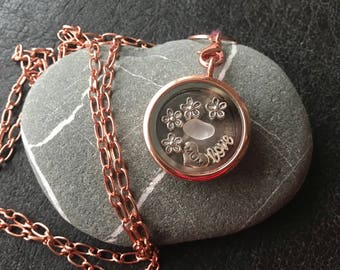 Mother's Day Love Locket Necklace with Genuine English Sea Glass. Handmade in the UK. Free UK delivery and Free Gift Box.