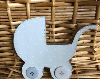 Cute nursery deco freestanding pram ornament keepsake babies room accessory personalised gift
