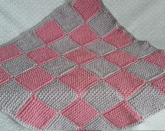 Hand knitted chunky patchwork baby blanket - pale rose pink and silver