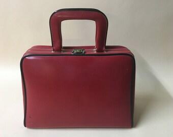 Dark red vintage vanity case- vintage luggage- photography prop - black case