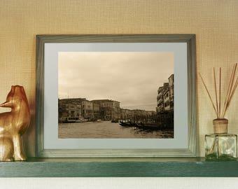 Venice Grand Canal Italy Fine Art  Print,  Landscape Photography Print, Brown Home Decor, Gondolas of Italy