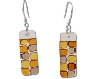 Fused Glass Rectangular Earrings with Colorful Squares. Checkerboard Earrings, Colorful Earrings, Amber, Red, Aqua, Black, Green, Pink,