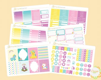 Unicorn Weekly Kit for Erin Condren Life Planner, Planner Stickers, Plum Paper, Mambi, Happy Planner