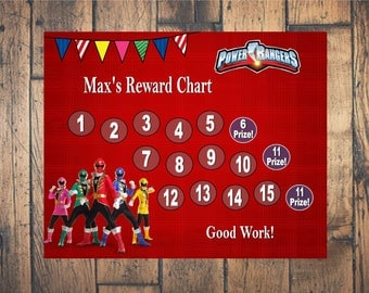 Power Rangers Themed Reward Chart - Digital PDF Files - or Minnie, Mickey, Frozen, Paw Patrol, Princesses, and more!
