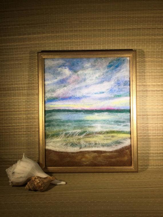Seascape Painting/Sunset Painting/Ocean Waves/Felt Painting