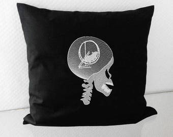Pillowcase skull embroidered skull hamster wheel