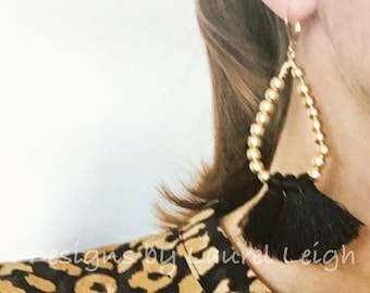 BLACK and GOLD Beaded Tassel Earrings | oval hoops, lightweight, statement earrings, Designs by, Laurel Leigh, designsbylaurelleigh