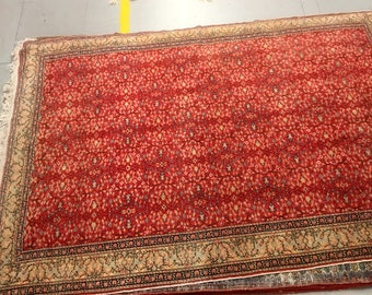 Flowered carpet rug 100% wool floral pattern rug red and green color warm vintage rug old rug big retro style suitable for home&restaurant.
