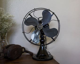 "Restored c. 1938 Emerson 73646 AK Cast Iron 3 Speed Oscillating 12"" Desk Fan"