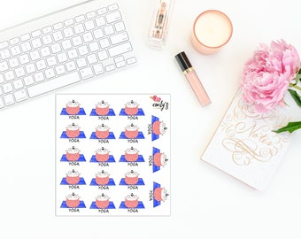 Henry the Hedgehog- Yoga| Erin Condren, Personal Size Planner Stickers