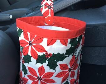 Poinsettia Car Trash Bag, Key Fob