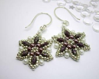 Purple Beaded Dangle Earrings, Pearl beaded earrings, Beaded flower earring, Gift for her, Purple and white earrings