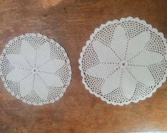 2 Vintage White Hand crochet Table mat, Doily