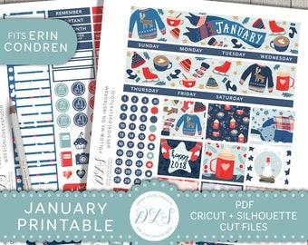 January Monthly Kit, January Planner Stickers, Printable Planner Stickers, January Stickers for Erin Condren, New Year Planner,  MV116