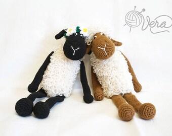 Crochet sheep, amigurumi lamb, stuffed toy lamb, amigurumi sheep, sheep animal, crochet lamb doll, sheep in a wreath