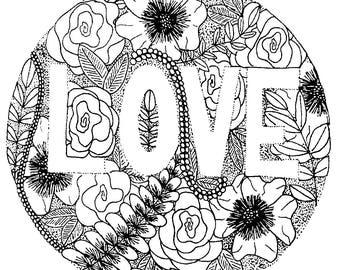 Love Floral 5x7 print