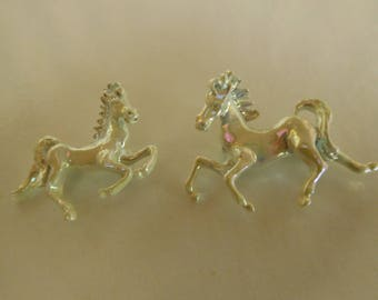 Vintage Pair of Horse Pins in White Glaze