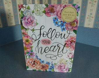 "Punch Studio ""Follow Your Heart"" Journal Diary Notebook in Beautiful Floral Design with Free Pen Set"