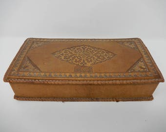 Old Oriental Box Padded Leather, Free Shipping
