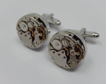 Cufflink, Clockwork mechanism, Art object, Free shipping