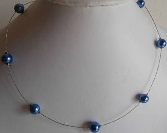 Classic wedding necklace Royal Blue beads