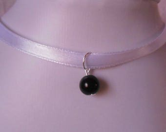 Bridal Black Pearl Ribbon necklace