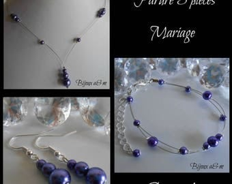 Set of 3 wedding pieces cascade of pearls purple