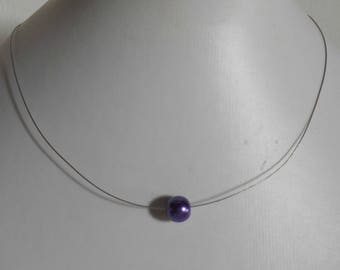 Solitaire Pearl wedding necklace purple