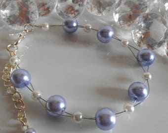 Wedding bracelet twist of lavender and white beads