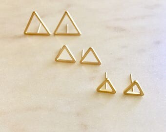 Gold and Silver Triangle Stud Earrings Hollow Triangle Earrings Gold Silver Geometric Earring Minimalist Jewelry  Minimalist Bride Earrings
