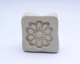 Pottery stamps, set of 2 handmade clay stamps, butterfly and flower stamps for pottery texture tool or polymer clay or children's play doh