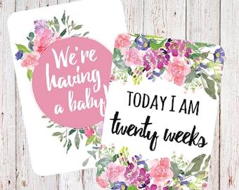 Pink Flowers Pregnancy Milestone Cards