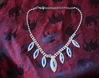 Fashion Classical white and dark blue Rhinestone  necklace