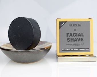 BAMBOO CHARCOALfacial cleansing and shaving multi-tasking  soap with Hemp oil-Men's grooming -  all natural handmade Cold Process vegan soap