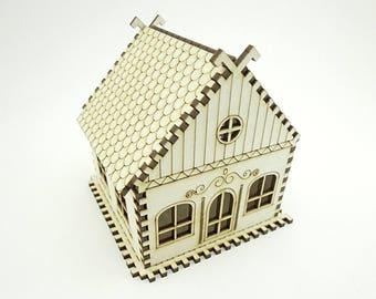 Maison Miniature en bois pour décoration - Laser Cut - maison Miniature - maison de poupée - maison de Noël