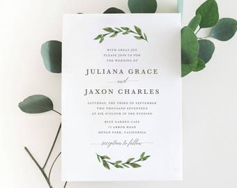 Printable Greenery Wedding Invitation | Watercolor, Green Leaves, Garden Wedding
