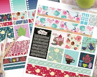 Tea Big HP Planner Stickers, Big HP Tea Time Planner Stickers, Tea, Cupcake Monthly Planner Kit, Printable Stickers, Monthly Planner, Floral