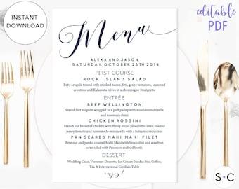 Navy Blue Wedding Menu Template, Wedding Menu, Printable Menu, Instant Download, Editable Menu, Dinner Menu, Wedding Menu Card
