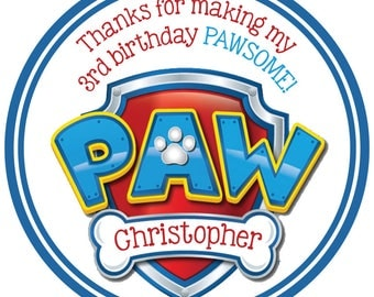 Paw Patrol Shield Digital OR Printed Birthday Number Personalized Stickers for Gift Bag, Party Favors, Birthday Stickers