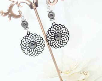 Earrings black prints with cabochon hematite jewelry ★ ★ earrings Crystal healing Jewelry Bead ★ ★ ★ prints cabochon ★