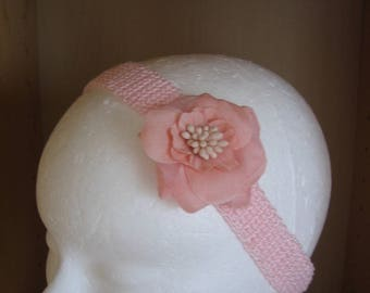 Romantic headband crocheted pink cotton and removable matching fabric flower
