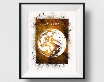 Moon Print, Full Moon Art, La Luna Print, Moon Painting, Astronomy Art, Dorm Wall Art, La Luna Poster, Moon Home Decor (N557)