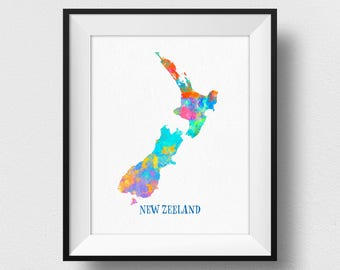 New Zealand Map Print, Map of New Zealand, New Zealand Wall Art, Watercolour Map Print, Map Poster, New Zealand Home Decor (716)