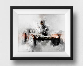 NASA Poster, Astronaut Poster, NASA Print, Space Art, Lunar Rover Wall Art, Watercolour Astronaut, Kids Room Decor, Giclee Art (N312)