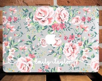 Floral Monogram Custom MacBook Case MacBook Air 11 Cover Mac Case Initials MacBook Air 11 Case Roses MacBook Pro 13 Case Laptop Case WCm230