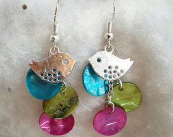 Earrings multicolored pearl beads and birds
