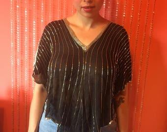 Vintage 80's sheer black gold beaded Neiman-Marcus blouse