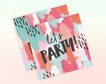 LET'S PARTY Napkins | Watercolor Napkins | Whimsical Wedding Napkins | Woodsy Party Theme | Size: 5 x 5 inches | Set of 24 Beverage Napkins