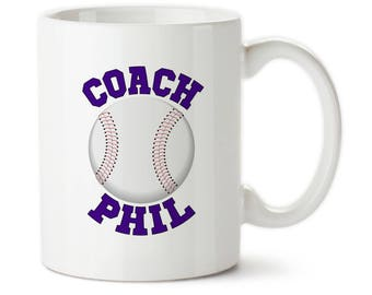 Custom Baseball Coach, Gifts For Coaches, Personalized Coach Mug, Coach Coffee Cups, Thank You Coach, Baseball Coach Cups, Baseball